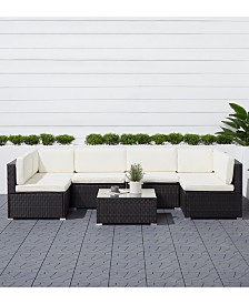 VIFAH Venice 6-Piece Classic Outdoor Wicker Sectional Sofa with Seat and Back Cushion