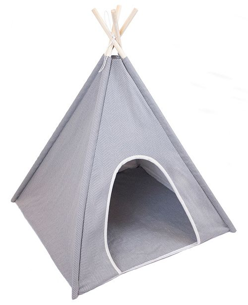 Precious Tails Canvas Herringbone Pet Tee Pee with 4 Wooden Rods