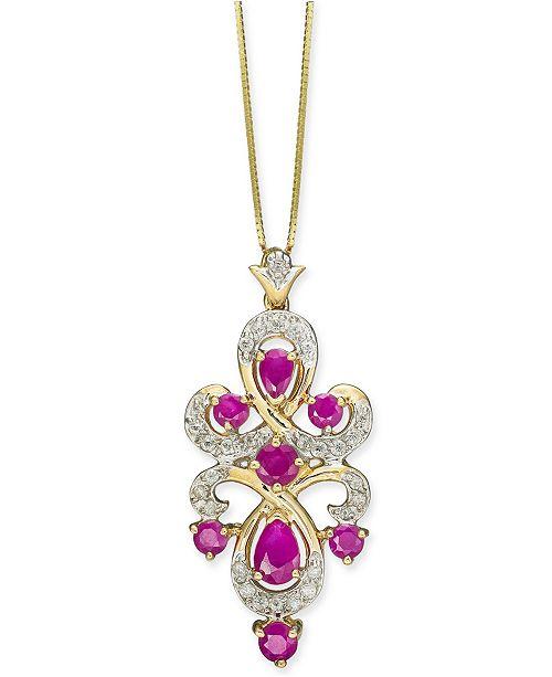 "Macy's Certified Ruby (1-3/8 ct. t.w.) & Diamond (1/4 ct. t.w.) 18"" Pendant Necklace in 10k Gold"