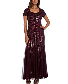 Sequinned Godet Gown, Regular & Petite Sizes