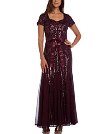 R & M Richards Sequinned Godet Gown, Regular & Petite Sizes