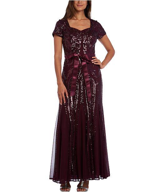 R & M Richards Sequinned Godet Gown, Regular & Petite Sizes