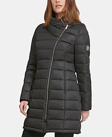 Asymmetrical Hooded Packable Down Puffer Coat