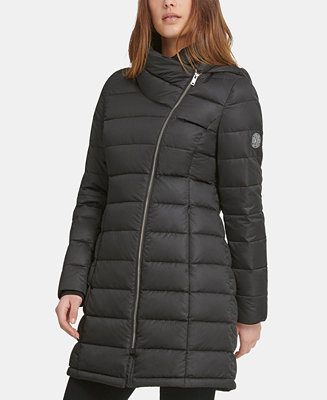 Asymmetrical Hooded Packable Down Puffer Coat by General