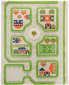 """Traffic 3D Childrens Play Mat & Rug in A Colorful Town Design with Soccer Field, Car Park & Roads - 90""""L x 63""""W"""