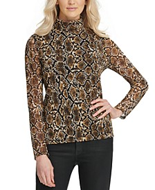 Snake-Print Turtleneck Top