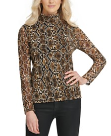 DKNY Snake-Print Turtleneck Top