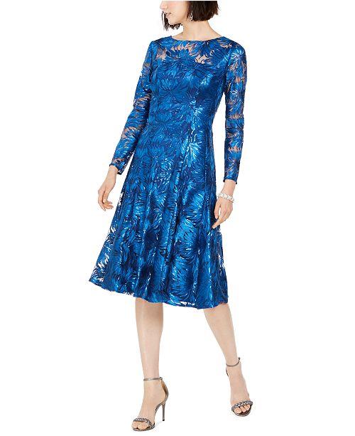 Tahari ASL Sequined Embroidered Midi Dress