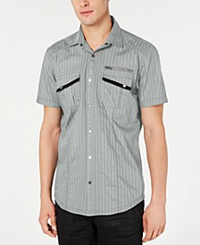 INC Men's Striped Utility Shirt, Created for Macy's