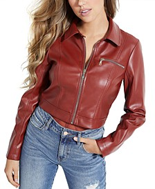 Cella Cropped Faux-Leather Jacket