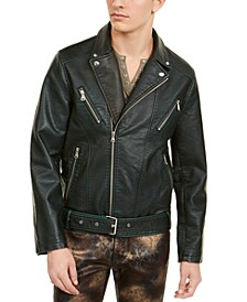 INC Men's Johnny Washed Faux Leather Biker Jacket