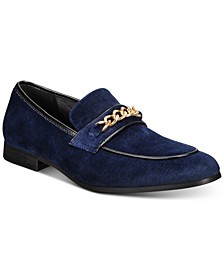 INC Men's Koil Velvet Gold-Chain Loafers, Created For Macy's
