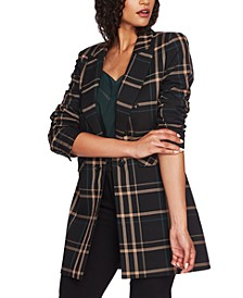 Ruched-Sleeve Plaid Duster Jacket