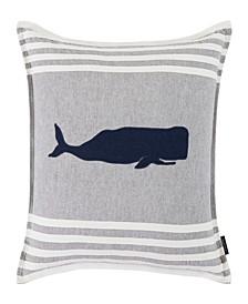 Whale Applique 20 Square Throw Pillow
