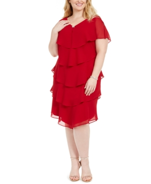 Valentines Day Dresses, Outfits, Lingerie | Red Dresses Sl Fashions Plus Size Tiered Shift Dress $109.00 AT vintagedancer.com