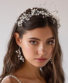 Rhinestone Floral Wedding Hair Piece with Matching Earrings