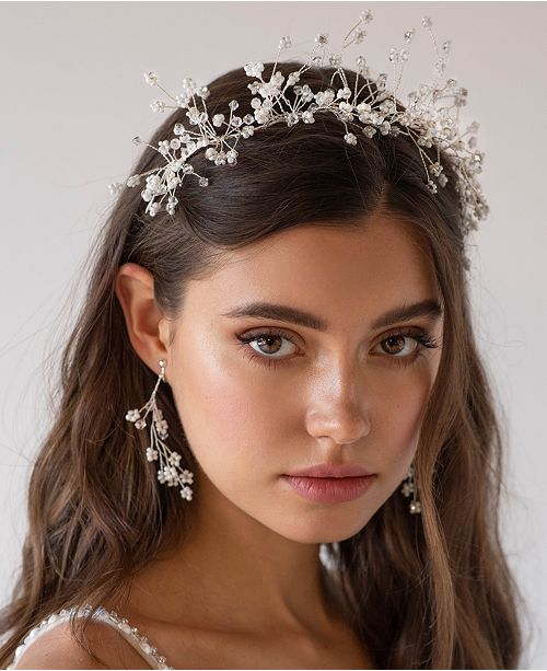 Soho Style Rhinestone Floral Wedding Hair Piece with Matching Earrings