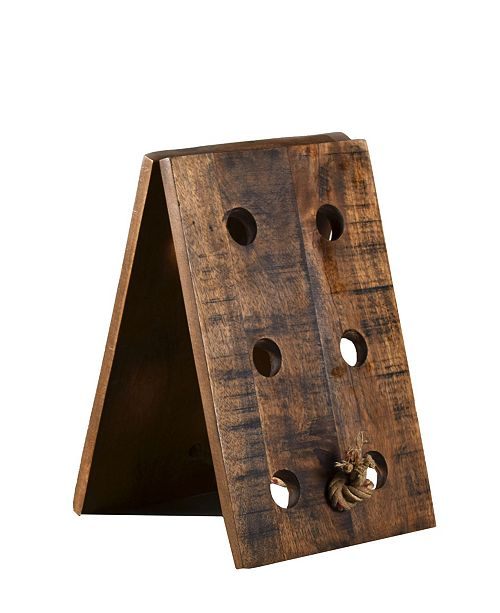 Villa2 Solid Semi Rough Wood Standalone 6 Standard Wine Bottle Standalone Wine Rack with Unique Rope Holder