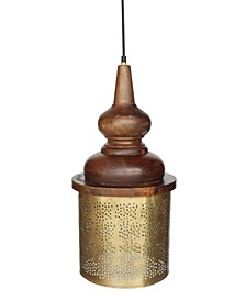 "Celestial ""Jaali"" Shade Pendant with Hand Carved Wooden Shade Holder in Brushed Retro Rich Look Lacquered Finish 25 Watt"