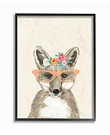 "Woodland Fox with Cat Eye Glasses Framed Giclee Art, 11"" x 14"""