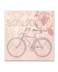 "Bonjour Vintage-Inspired Bicycle Paris Wall Plaque Art, 12"" x 12"""