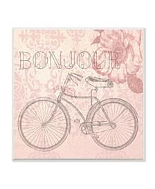 "Bonjour Vintage-Inspired Bicycle Paris Wall Plaque Art, 12"" x 12"""