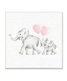 "Elephant Family Pink Balloon Linen Look Wall Plaque Art, 12"" x 12"""