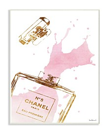 "Stupell Industries Glam Perfume Bottle Splash Pink Gold Wall Plaque Art, 10"" x 15"""