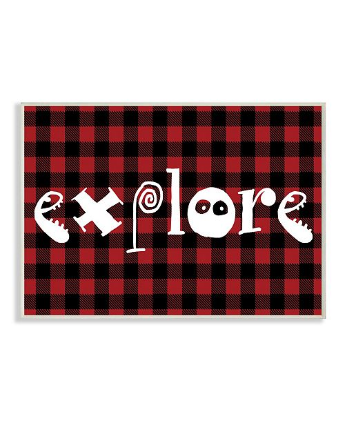 "Stupell Industries Explore Plaid Typography Wall Plaque Art, 10"" x 15"""