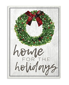 "Stupell Industries Home for the Holidays Wreath Bow Christmas Wall Plaque Art, 10"" x 15"""