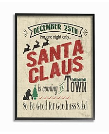 """Santa For One Night Only Typography Framed Giclee Art, 11"""" x 14"""""""