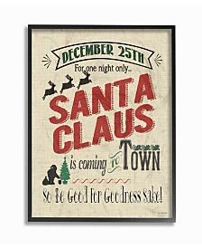 "Stupell Industries Santa For One Night Only Typography Framed Giclee Art, 11"" x 14"""