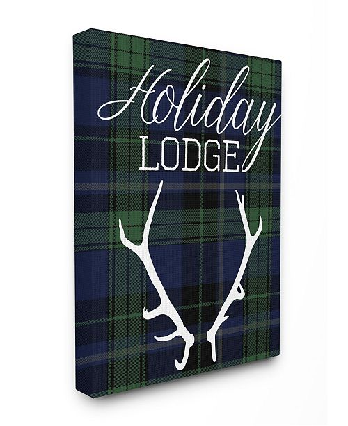 """Stupell Industries Holiday Lodge Christmas Antlers Canvas Wall Art, 30"""" x 40"""""""
