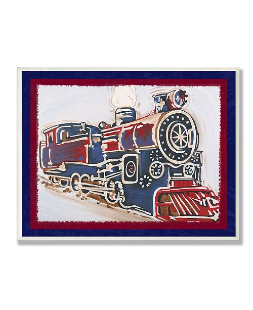 "Stupell Industries The Kids Room Blue And Red Vintage-Inspired Train Wall Plaque Art, 12.5"" x 18.5"""