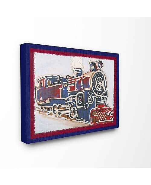 """Stupell Industries The Kids Room Blue And Red Vintage-Inspired Train Canvas Wall Art, 30"""" x 40"""""""