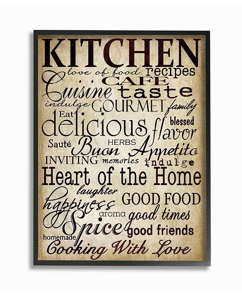 """Stupell Industries Home Decor Words in The Kitchen Off White Framed Giclee Art, 11"""" x 14"""""""