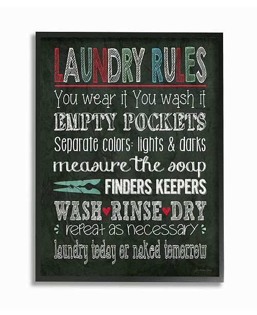 """Stupell Industries Home Decor Laundry Rules Typography Chalkboard Bathroom Framed Giclee Art, 11"""" x 14"""""""