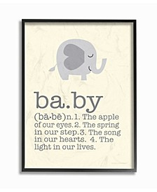 """Home Decor Definition Of Baby with Gray Elephant Framed Giclee Art, 16"""" x 20"""""""