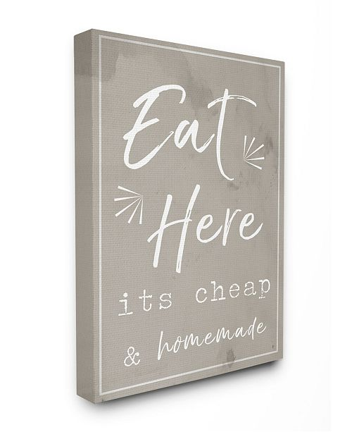 """Stupell Industries Eat Here Home Cooking Beige Canvas Wall Art, 24"""" x 30"""""""