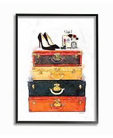 "Stupell Industries Luggage Stack Shoes and Makeup Framed Giclee Art, 11"" x 14"""