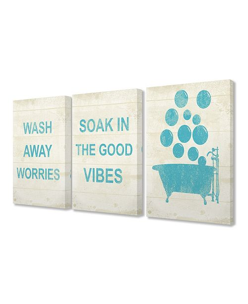 "Stupell Industries Wash Away Soak Vibes Bathtub 3 Piece Canvas Art Set, 16"" x 20"""