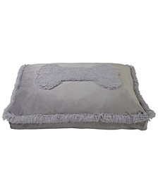 Plush Velvet Bone Fur Applique Pillow Pet Bed