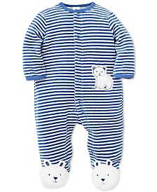 Little Me Baby Boys Striped Polar Bear Footed Coverall