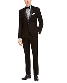 Men's Slim-Fit Performance Stretch Black Houndstooth Tuxedo