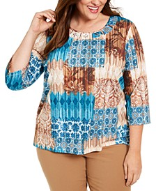 Plus Size Walnut Grove Embellished Mixed-Print Top