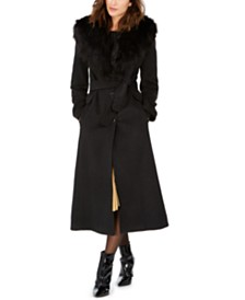 Calvin Klein Faux-Fur Shawl-Collar Maxi Coat