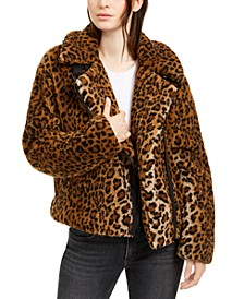 Fuzzy Leopard Print Motorcycle Jacket