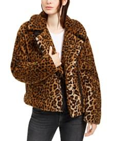 Levi's® Fuzzy Leopard Print Motorcycle Jacket