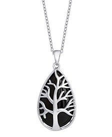 """Black Agate (9 ct. t.w.) Coral Reef Pendant 18"""" Necklace in Sterling Silver. Also Available in Rose Quartz (11 ct. t.w.)"""