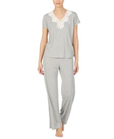 Lauren Ralph Lauren Lace-Trim Printed Pajamas Set